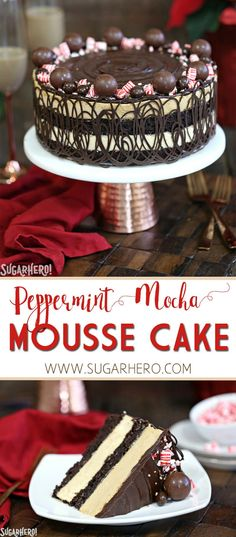 Peppermint Mocha Mousse Cake is the perfect holiday party cake! It features layers of brownies and peppermint mocha mousse, wrapped in chocolate swirls and topped with a shiny chocolate glaze. | From SugarHero.com #christmas #christmasdessert #peppermint #mocha  #mousse