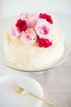 Pink flowers + buttercream frosting