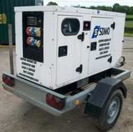 "Small 3 phase road tow Generator.  16kva Generator.   Don't be two afraid of 3 phase as it's you can think of it as 3 separate single phase supplies.  So for example each ""phase""  could run a different marquee.   The only concern is that each ""phase"" has a suitable separation from each other.   You also need to make sure that if you are nearing the capacity of the generator you balance each phase.  Or you can accept that one phase is 1/3 of the power of the generator."