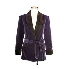 Men's Bilberry Purple Velvet Smoking Jacket with Purple Lining