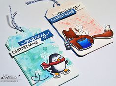 Lawn Fawn Holiday Christmas Gift Tags by Wiebke (using Winter Penguin, Winter Fox, Toboggan Together, Oh Snap, Tag You're It)