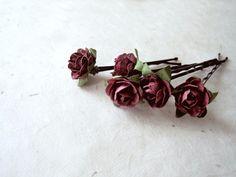 Aubergine Rose Hair Pins. Handmade Paper Flower by PiggleAndPop