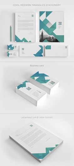 Cool Modern Triangles Stationery Design