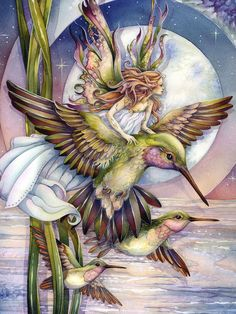 By Jody Bergsma Art | Jody Bergsma, artist Fairy and Hummingbirds