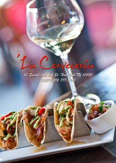 'La cerveceria:Peruvian cuisine.Result of nearly 500-year melting pot of Spanish, African, Japanese & Chinese immigration is on the lips of top chefs worldwide. Award winning eatery, using our Chef Series, Mini Triples, for this tapas taco platter. Known for their style and taste, a must try when you are in the big apple. Chefs, if you would like to get your tacos noticed, come see why our Mini Triple is the key to their platter success. Visit www.TacoRack.com for your restaurant needs.