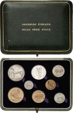 Proof set of 8 coins KM. All gem proof. All housed in the original green leather case. Green Leather, Leather Case, Irish Free State, Coin Design, Ireland Homes, All Gems, Stamp Collecting, Gold Coins, Auction