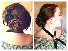 "~ Civil War Hairstyle ~ Braided flat oval bun & puffed ""wings"" above the ears."