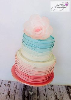 Layers of Colorful Ombre Cake