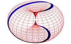 Lissajous figure on horn torus, down the rapid hole Geometry Art, Sacred Geometry, Geometric Shapes Art, Math Art, String Theory, Quantum Physics, Illusion Art, Calculus, Optical Illusions