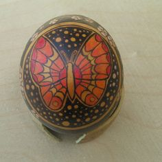 Spring Butterfly gourd ornament or shelf sitter, Butterfly and Wildflowers, egg gourd ornament, pyrography art, gourd art by TheWildCrone on Etsy