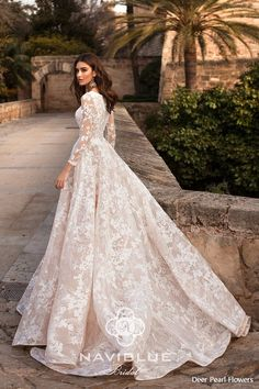 Wedding Gown naviblue 2019 bridal long sleeves bateau neck full embellishment elegant modest a line wedding dress covered lace back chapel train bv -- Naviblue 2019 Wedding Dresses Emerald Bridesmaid Dresses, Long Wedding Dresses, Long Sleeve Wedding, Wedding Dress Sleeves, Wedding Gown Lace, Wedding Dress Fails, Wedding Dress Train, Elegant Dresses For Wedding, Blush Lace Wedding Dress