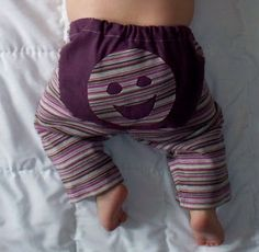 This is a pair of baby pants made from the long sleeves of a t-shirt