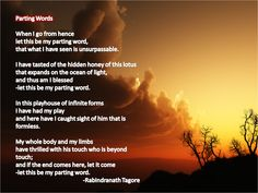 """Rabindranath Tagore`s poem called """"Parting Words"""""""