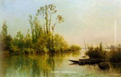 Charles-Francois Daubigny The isles Vierges A Bezons - Charles-Francois Daubigny, painting Authorized official website