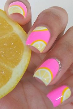 Pink lemonade nailsColors used: LVX-Lemon Drop, Orly Nails-Out-Take, essie-Blanc, and Wet n Wild-Doh! (Only 3 days left for a chance to WIN 100 ESSIE POLISHES! Make sure you click the link and vote for me to be entered! Cute Nail Art, Easy Nail Art, Cute Nails, Pretty Nails, Essie, Lemon Nails, Cute Summer Nails, Summer Nail Art, Cute Nail Designs