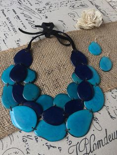 Unique gifts for women. Tagua nut necklace set. Big bold chunky necklaces.