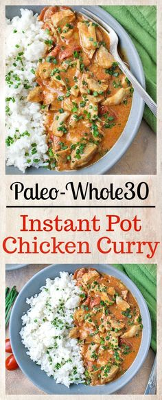This Paleo Whole30 Instant Pot Chicken Curry is so fast and flavorful! It is so easy to make and only has 7 ingredients. Using the Instant Pot saves time and the result is moist chicken, creamy sauce, and rich flavor. You will love it! Gluten free, dairy free, and low fodmap. #paleo #instantpot #whole30 #paleochickencurry #paleochickenrecipe