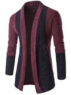Slim-Fit Color Block Shawl Collar Cardigan