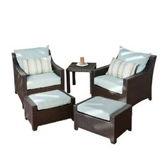 5-Piece Cabo Patio Seating Group Set in Bliss Blue  at Joss and Main