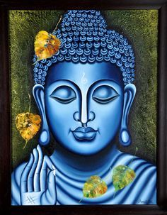 Buy Lord Buddha Painting artwork number a famous painting by an Indian Artist Ramesh Patel. Indian Art Ideas offer contemporary and modern art at reasonable price. Buddha Artwork, Buddha Painting, Peace Painting, Krishna Painting, Painting Art, Buddha Kunst, Buddha Zen, Buddha Meditation, Buddha Drawing