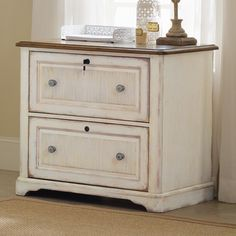 Two Drawer White Wood Lateral File Cabinet - Distressed