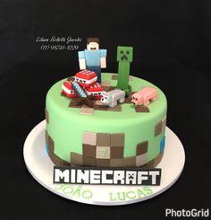 Bolo com tema Minecraft.  #aniversario #aniversarioinfantil #bolo #bolodecorado #boloinfantil #boloartistico #cake #cakestagram #cakedesign #insta #instabolo #instacake #minecraft
