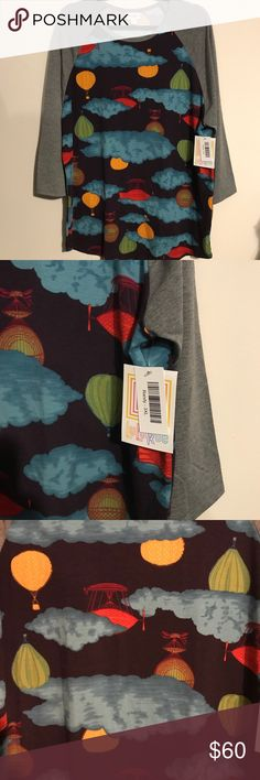HTF BNWT HOT AIR BALLOON Randy LuLaRoe 3X Top HTF BNWT HOT AIR BALLOON Randy LuLaRoe 3X Top w/Gray Sleeves. The Randy Tee is a Baseball Style Top w/ 3/4 length sleeves whose color contrasts with the body of the shirt. This Randy features a purple body w/ highly coveted hot air balloons patterns and gray sleeves! Simply a stunning color combo, and with this top style, you can dress down, or dress up! LuLaRoe Tops Tees - Short Sleeve