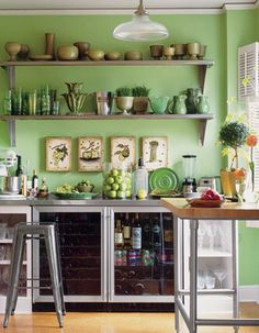 bright green kitchen we decorated with lots of white and black