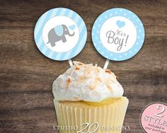 "Instant Download 2"" Elephant Cupcake Toppers, Printable Elephant Baby Shower Cupcake Toppers, It's A Boy Baby Shower Toppers, Gift Tags 22C - http://babyshower-cupcake.com/instant-download-2-elephant-cupcake-toppers-printable-elephant-baby-shower-cupcake-toppers-its-a-boy-baby-shower-toppers-gift-tags-22c/"