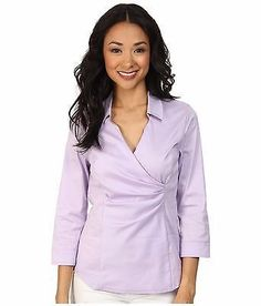 NYDJ Fit Solution Wrap Blouse Lilac Frost Women's Top Women's Size LG 12 - 14