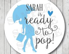 personalized ready to pop stickers ready to pop tags ready to pop labels pregnant lady with umbrella baby shower favor tags - Ready To Pop Labels Template Free