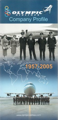 Olympic Airways Company profile 1957 - 2005 Cabin & Crew pics, route map Olympic Airlines, National Airlines, Cabin Crew, Company Profile, Olympics, Aviation, History, World, Airplanes