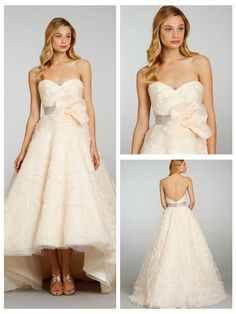 Embroidered Strapless Sweetheart Wedding Dress with High-Low Hem