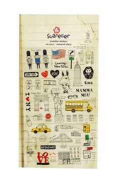 International Arrivals - Suatelier Stickers - New York Diary, $2.95 (http://www.intlarrivals.com/suatelier-stickers-new-york-diary/)