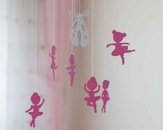 This cute ballerina nursery mobile features eight pink and white ballerinas and ballerina shoes in the middle of the nursery decor. These ballerinas are NOT made of PAPER. In fact, I made this baby mobile with an amazing anti-allergenic and bpa free foam-like material. Buy the mobile Ballerina Nursery, Princess Nursery, Nursery Decor, Wall Decor, Baby Mobiles, Girl Baby Shower Decorations, Ballerina Shoes, Ballerinas