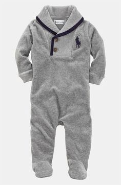 Ralph Lauren Velour Footie (Infant) | Nordstrom