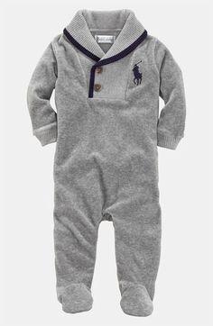 Ralph Lauren Velour Footie (Infant) | Nordstrom