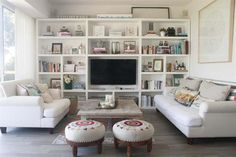 I like the simple trim Bookshelves With Tv, Bookcase Wall, Built In Bookcase, Bookcases, Living Room Tv, Home And Living, Living Pequeños, Tv Shelving, Kirkland Home Decor