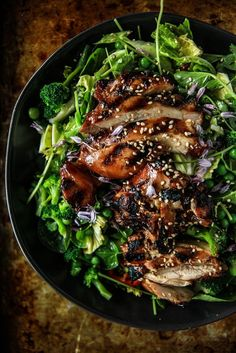 """Teriyaki Chicken Salad Heather Christo is part of Teriyaki chicken salad NEW VIDEO! One of my favorite """"Salad for dinner"""" type of situations here! Just back from a long week in New York where - Teriyaki Chicken Salad, Salad Chicken, Teriyaki Sauce, Grilled Chicken, Soy Sauce, Pecan Chicken, Chicken Tacos, Recipe Chicken, Keto Chicken"""