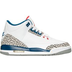 """Air Jordan 3 Retro """"True Blue"""" (2016) ❤ liked on Polyvore featuring shoes and jordans"""