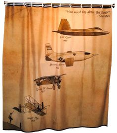 air force shower curtain vintage aviation decor from the wright bros to the f - Aviation Decor