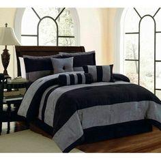 7 PC Black and Grey Micro Suede Striped Comforter Set. 5 PC set Includes: 1 Twin Comforter: x 1 Bed Skirt: x drop. Queen Comforter x 2 Shams x Each. Full Comforter X 2 Shams Each. Mens Comforter Set, Full Size Comforter Sets, King Size Comforters, Grey Comforter Sets, King Comforter Sets, Queen Comforter Sets, Luxury Bedding Sets, Rustic Comforter, Teen Boy Bedding