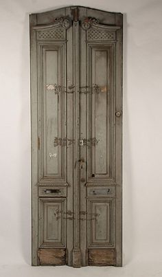 love...; c. 1880 pr.  ANTIQUE CARVED & PAINTED ENTRY DOORS, raised panel decoration