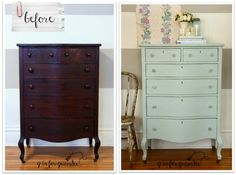 Before and after.  Dresser painted in Fusion's Inglenook.