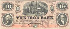 1800s $10 Falls Village Connecticut The Iron Bank.