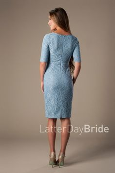 modest-dresses-mds1611-blue-back Casual Bridesmaid, Modest Bridesmaid Dresses, Modest Dresses, Blue Dresses, Bridesmaids, Dusty Blue Dress, Reception Dresses, Blue Back, Half Sleeves