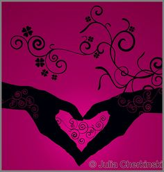 vector heart shaped hands silhouette on dark pink background     http://www.tpt-fonts4teachers.blogspot.com/2013/01/san-valentines-day-free-clip-arts.html