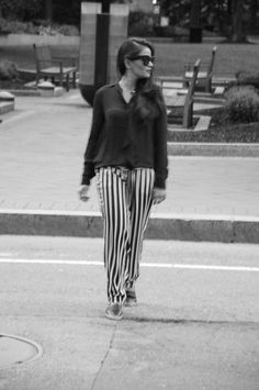 Love Playing Dressup, striped pants, andrgyny, blogger, fashion blogger, street style, boston, indian blogger, black and white, celine sunglassed, pajama pants, office wear, corporate look, chanel espadrilles, striped pants, petite, petie blogger, leather clutch