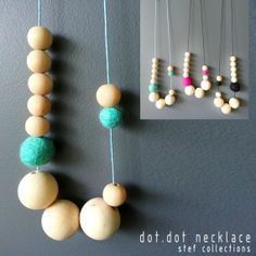 Felt Ball Necklace. Sky Blue Necklace. Wooden by StefCollections, $16.99