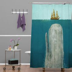 Below Deck Shower Curtain - This fun piece is a great way to add waterproof artwork to your bathroom. Bring modern, nautical life to your shower with the high-quality Below Deck Shower Curtain